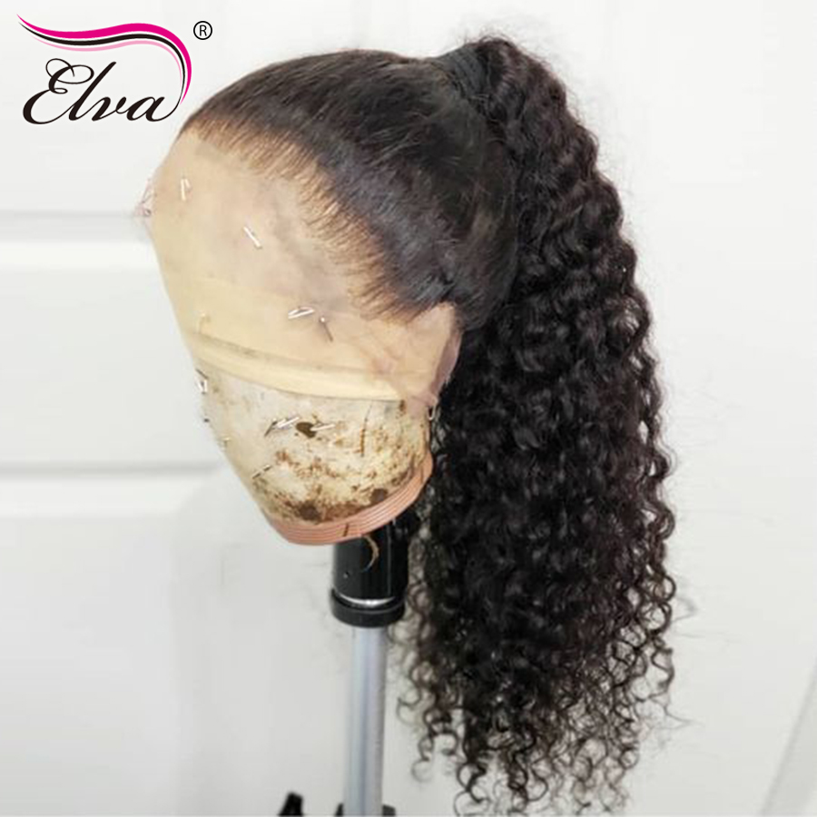 180 Density 360 Lace Frontal Wig For Black Women Brazilian Water Wave Remy Hair Lace Front
