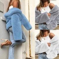 Elegant White Shaggy Women Faux Fur Coat Streetwear Autumn Winter Warm  Plush Teddy Coat Female Plus a9aba6ab5b9a