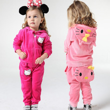 HI&JUBER Children Clothing Sets Baby Girls Spring and Autumn Cartoon Cute 2 Pcs Suit Toddler Girl Clothes