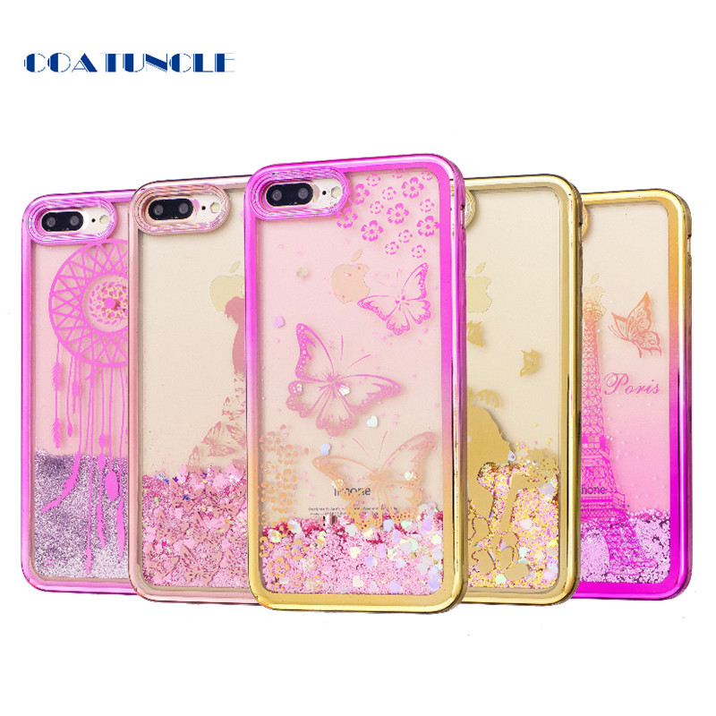 Soft TPU Phone Case For Apple iphone 7 Plus Plating shell Case Dynamic Bling Liquid Glitter Quicksand Back Cover For iphone7Plus