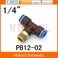 Quick connector PB12-02,12mm to 1/4″ Threaded three-way pipe, brass pneumatic components,air fitting