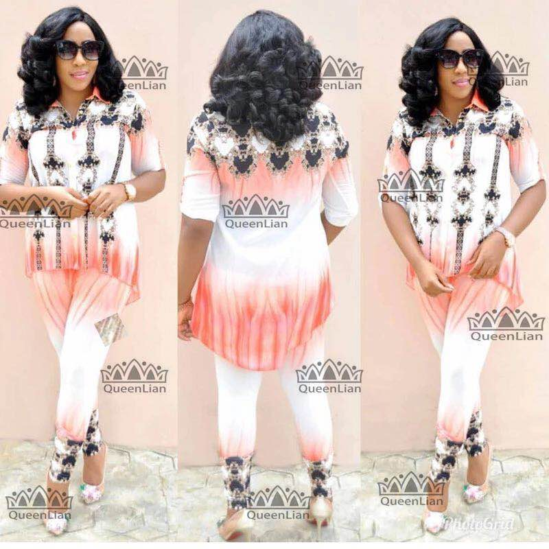 African Suit Dasiki Top And Pants Chiffon  Dress For Lady (XFTZ02#)