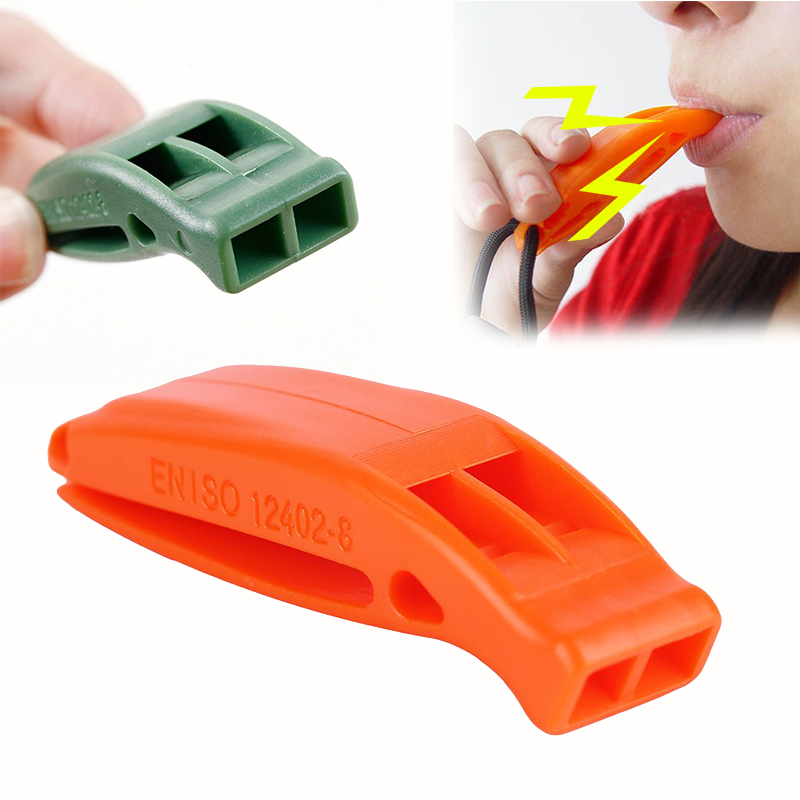 Portable Tactical Outdoor Survival Sentinel Rescue Emergency Plastic Whistle With Clip For Champing Hiking Climbing Travel Kits