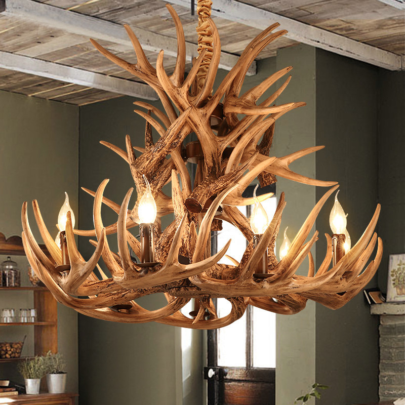 Geweih Harz Kronleuchter Lampe Moderne LED Geweih Kronleuchter  Lustre Licht Lampe Kronleuchter E14 Vintage Lichter Neuheit Beleuchtung