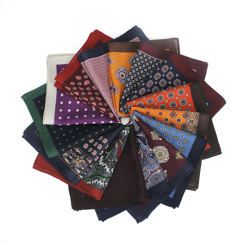 Paisley Square Pocket For Men Flower Dot Pattern Wool Hankerchief Colorful Solid Soft Wedding Designer Pocket Square 30*30cm