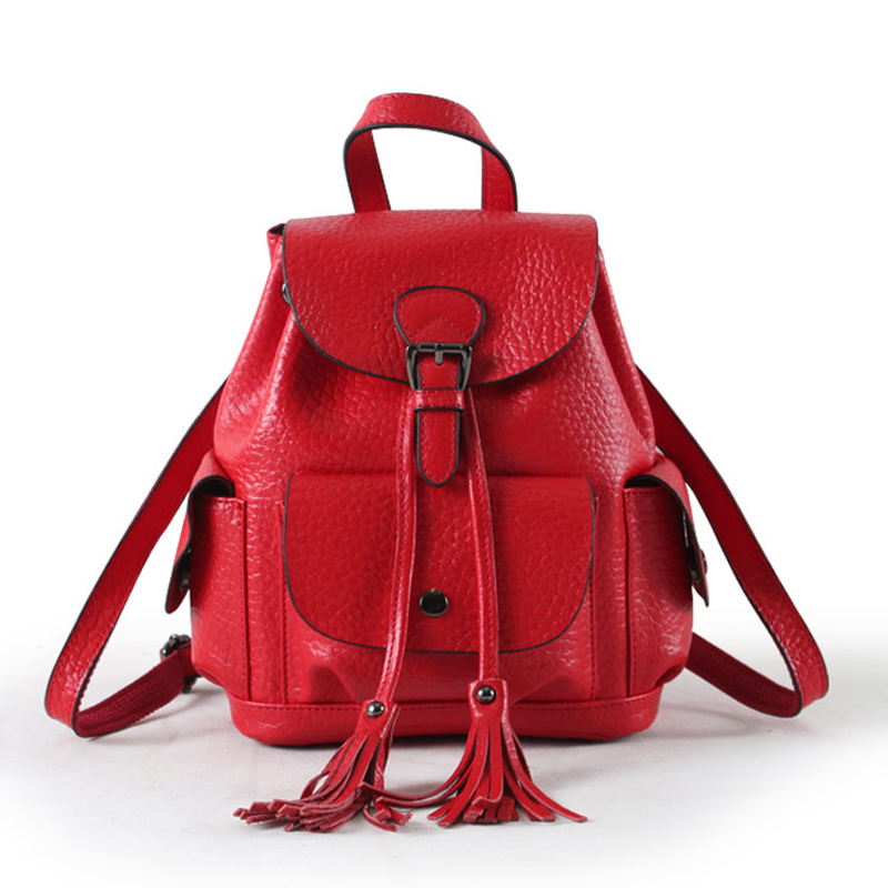 2019 Women Leather Backpack Genuine Leather Vintage Tassel Fashion Backpack for Girls Preppy Style School Backpack