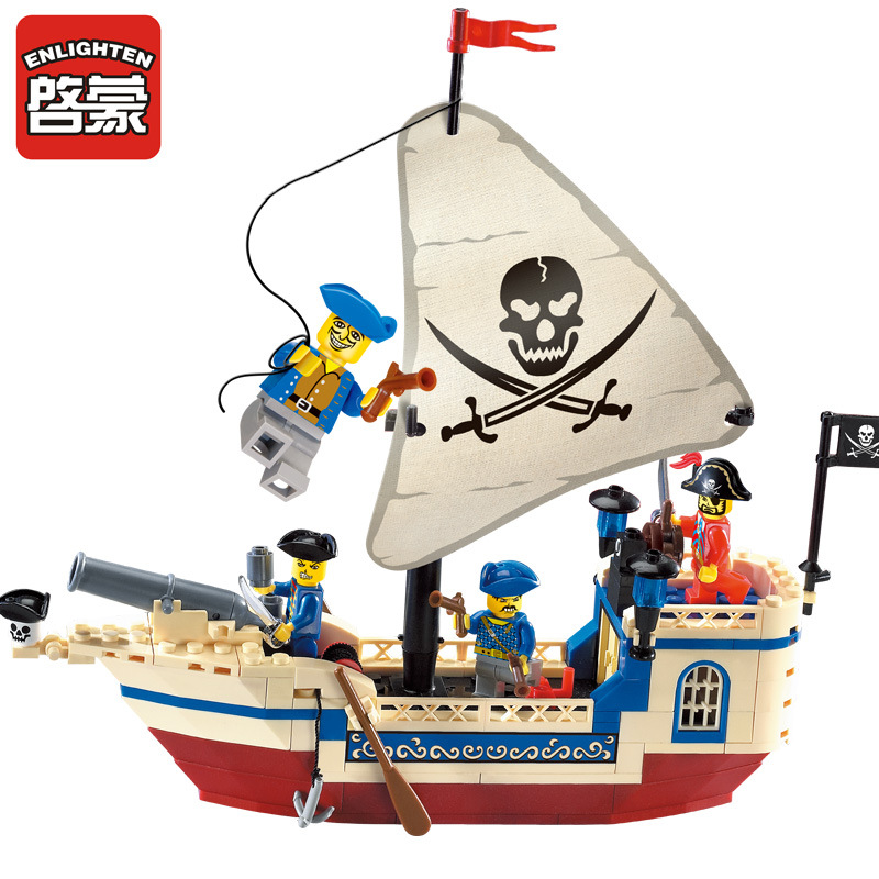 ENLIGHTEN Pirate Series Ship Building Bricks Blocks Sets Building Blocks Intellectual  Kids Toys Compatible Legoe enlighten building blocks navy frigate ship assembling building blocks military series blocks girls
