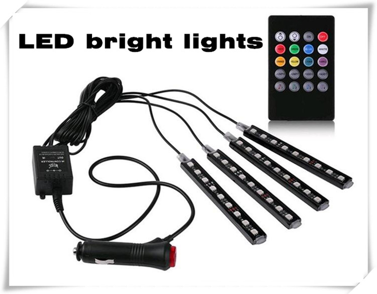 4pcs Car Styling LED Decorative Atmosphere Lamps Car Light With Remote For Skoda Yeti Octavia Superb Fabia Accessories