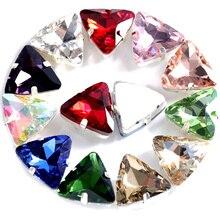Треугольные Стразы с кристаллами AB, стразы с серебряными когтями, стразы со стразами для свадебного платья B3018