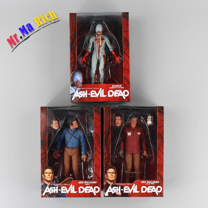 3pcs/lot Neca The Evil Dead Ash Vs Evil Dead Ash Williams Eligos Pvc Action Figure Collectible Model Toy neca the evil dead ash vs evil dead ash williams eligos pvc action figure collectible model toy 18cm kt3427