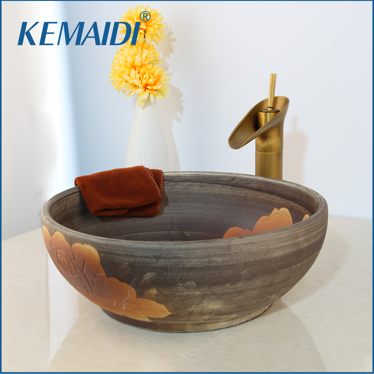 KEMAIDI Art Ceramic Vessel Bathroom Sink Set Waterfall Antique Brass Bathroom Faucet White Design Golden inside