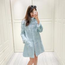 2017 real rabbit fur slim coat female new season free shipping JN381