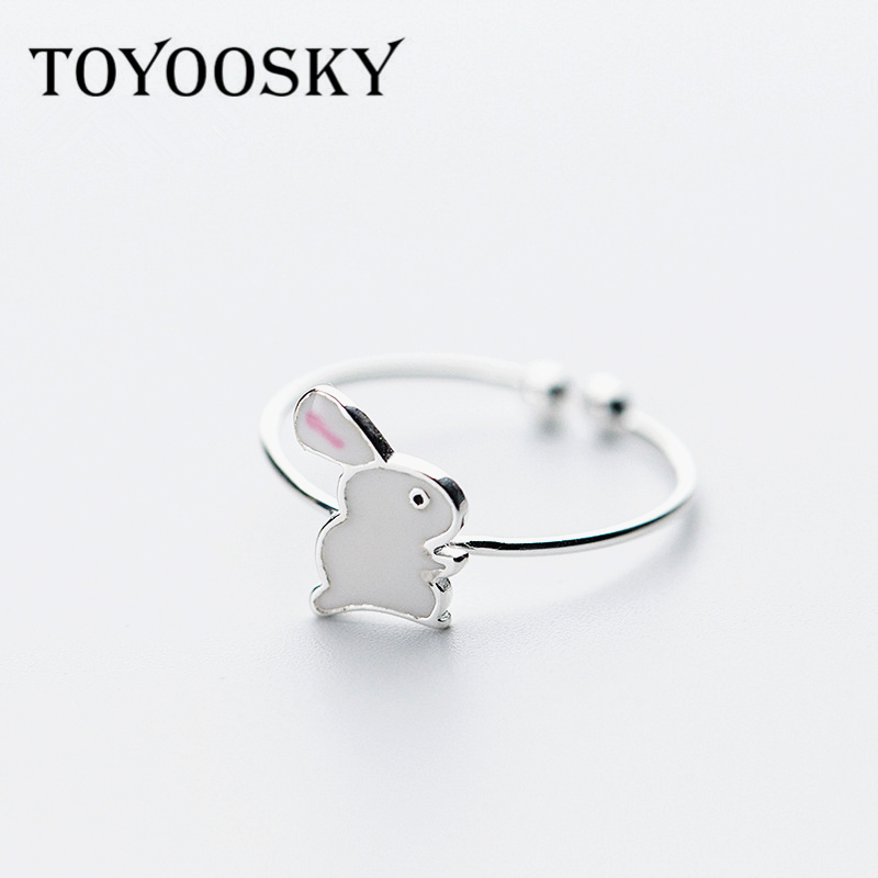 925 Sterling Silver Cute Rabbit Finger Ring Opening Adjust S