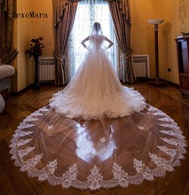 One Layer Cathedral Length Bridal Veil with Comb Lace Applique Tulle 3m Long Wedding Veils White/Ivory Accessories