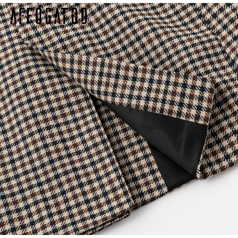 Affogatoo Fashion double breasted plaid blazer women Long sleeve slim OL blazer 18 Casual autumn jacket blazer female 14
