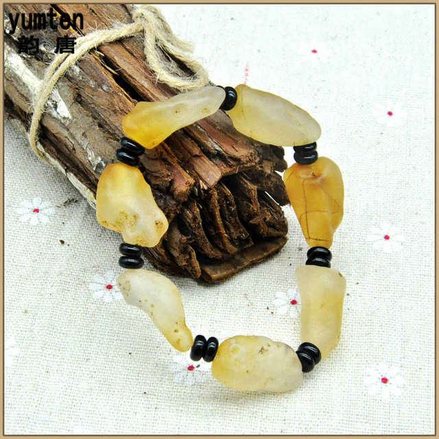 Yumten Natural Emerald Stones Citrine Kehribar Amber Bracelets Bracciali Donna Love Charm Bangles For Men And Women Girl New
