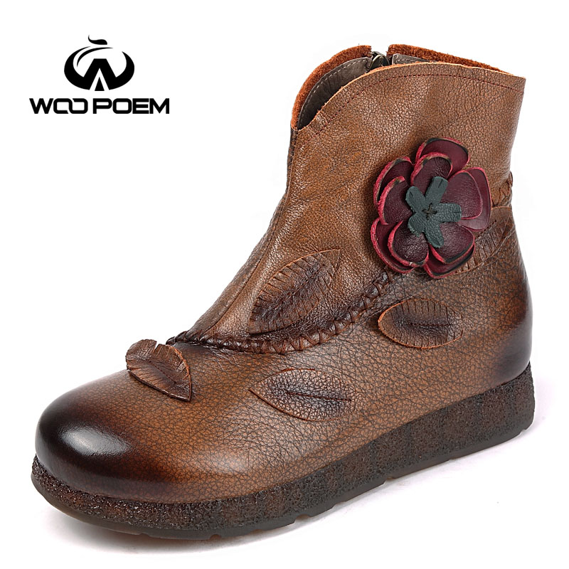 WooPoem Brand 2017 Winter Shoes Woman Genuine Leather Flower Shoes Comfort Low Heel Ankle Boots Classic Retro Women Boots 5163 woopoem brand winter shoes woman genuine leather boots low flat heel ankle boots rivet motorcycle boots retro women boots 510 l1