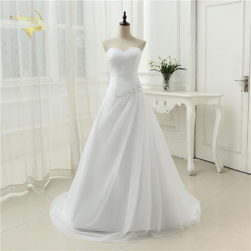 Νέα Άφιξη 2019 Φορέματα Γάμου Sweetheart Μια Γραμμή Rhinestone Beading Νυφική Φόρεμα Vestidos de Novia Συν Μέγεθος Lace Up 5981982
