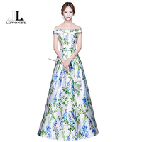 LOVONEY Sexy Boat Neck Evening Dresses 2017 Backless Lace Up Long Formal Evening Gown Party Dresses
