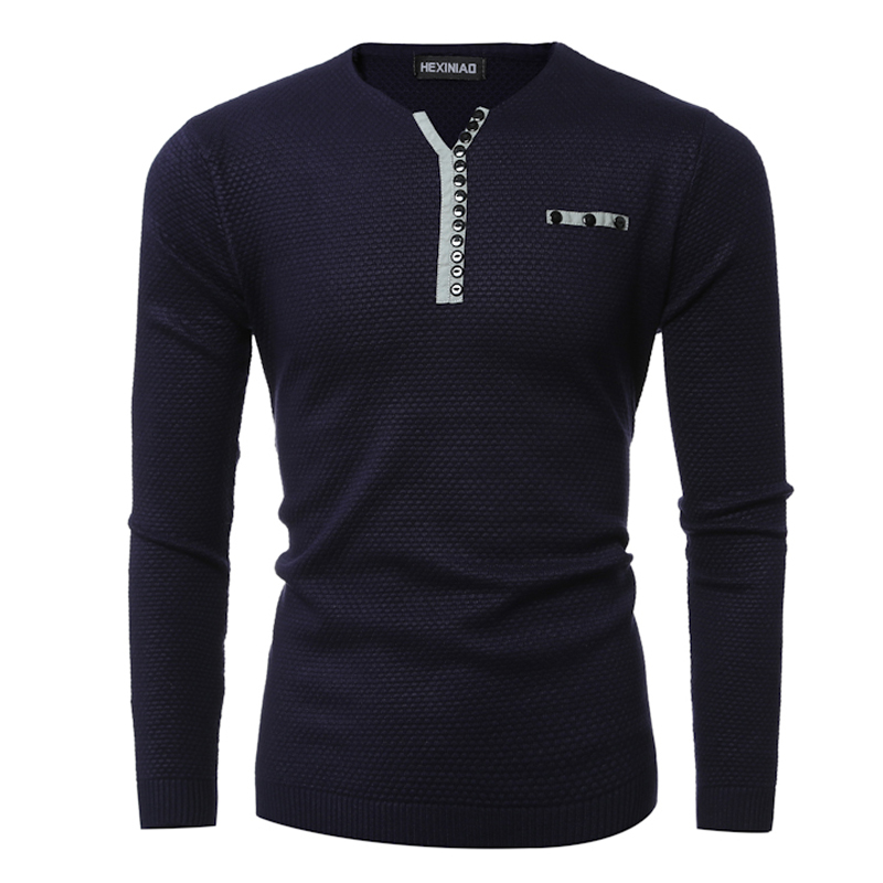 New Arrival 2016 Mens V-neck Sweaters Button Design Male Knitted Pullover Sweater High Quality Slim Thick Stitch Costume