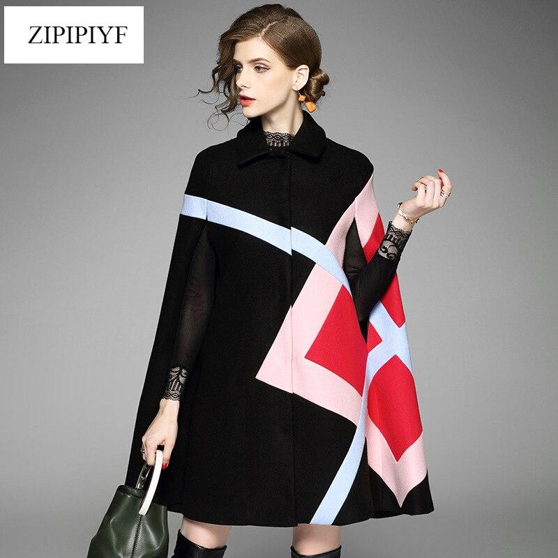 Kadın Giyim'ten Yün ve Karışımları'de Yüksek kalite 2017 kadın sonbahar kış moda geometrik kaplı düğme pelerin ofis bayan woolencoat geniş waisted dış giyim L8823'da  Grup 1