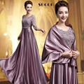 Elegant Long Purple Satin Lace Mother of the Bride Dresses 2016 Plus Size With Shawl Formal Evening Dresses for Party Wedding
