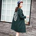 Новый Стиль Одежда Для Беременных Gravida Свободный Капюшоном Длинные Блузка Мода Плед однобортный Беременных Женщин Футболка С Длинным Рукавом