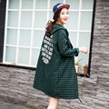 New Style Maternity Clothes Gravida Loose Hooded Long Blouse Fashion Plaid Single-breasted Pregnant Women Long Sleeve Shirt