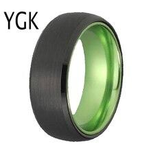 Bagues classiques pour femmes et hommes, bijoux de mariée, bague de fiançailles, bague en tungstène noir avec aluminium vert