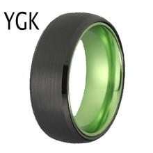 Klasik yüzükler kadınlar için erkek gelin takı düğün nişan yüzük Tungsten yüzük siyah Tungsten yeşil alüminyum halka