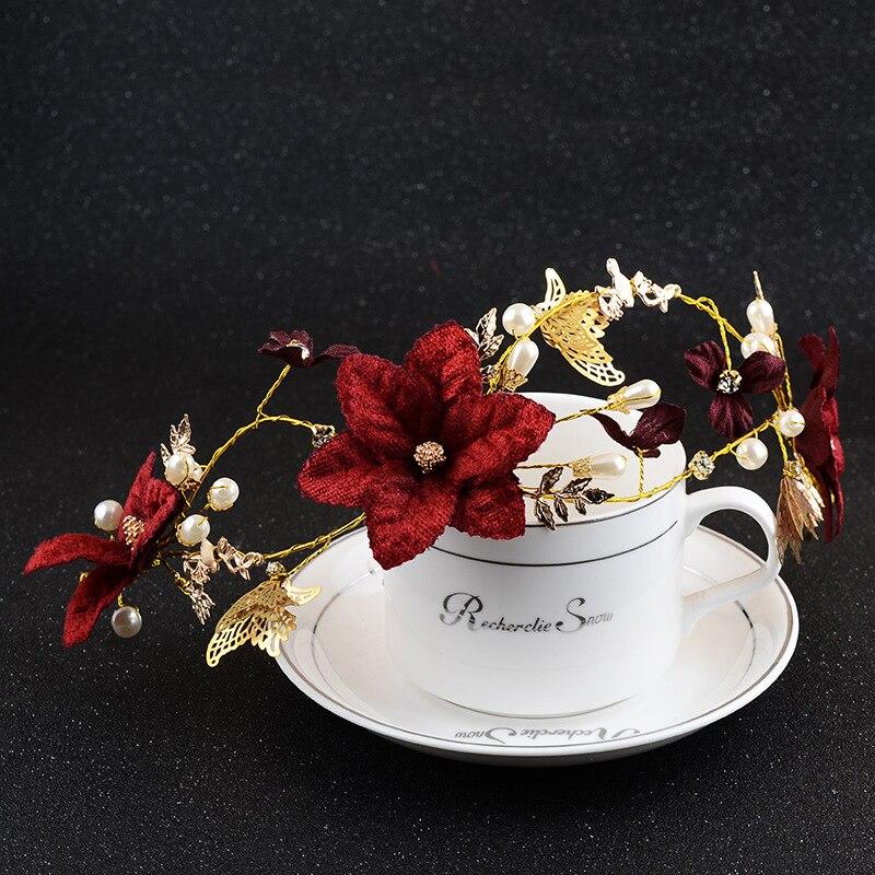Новые поступления Свадебная повязка Свадебные аксессуары красный цветок руководитель группы свадебные аксессуары, украшения для волос дл...