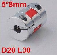 Free Shipping 6pcs 5mm X 8mm Flexible Plum Coupling Shaft Coupler 5mm To 8mm D20 L30