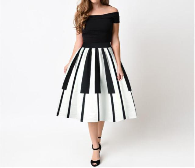 Black And White Piano Striped Printed Lady Vintage Skirts Fashion Pleated Midi Skirts Saia Ball Gown Party  Faldas Elegant Saia