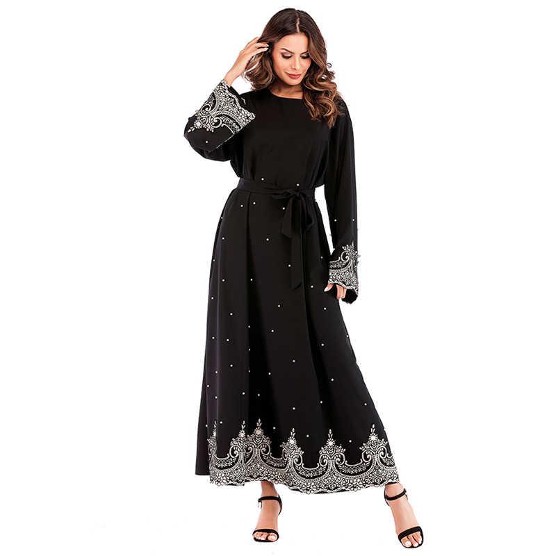 2019 진주 Kaftan Abaya 두바이 터키 이슬람교 이슬람교 Hijab 복장 여자를위한 Abayas 카타르 아랍 에미리트 Jilbab Robe Elbise Caftan Clothing