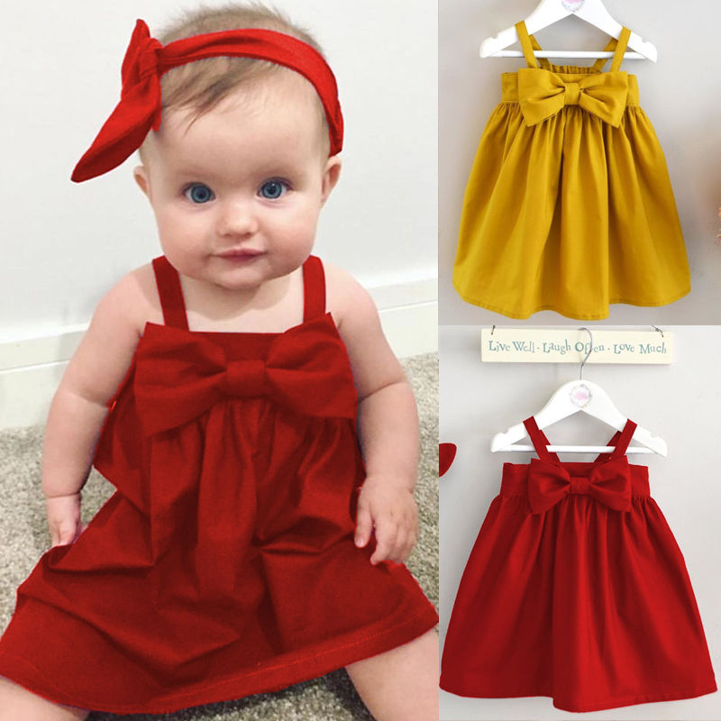 Cute Baby Girls Summer Sundress Bowknot Short Mini Vest Dress Toddler Kids Cotton Casual Dresses Sleeveless Outfit Red&Yellow