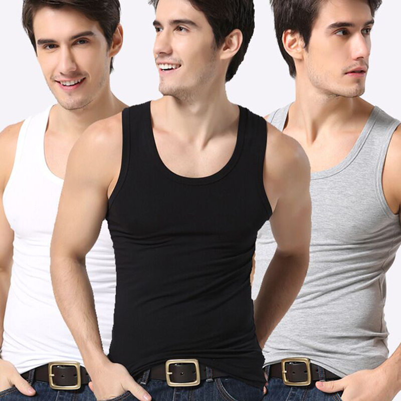 Men's Close-fitting Vest Fitness Male Tanks Underwear Male Underpants Type Sweat Men Underwear Clothes Solid Undershirts Cotton