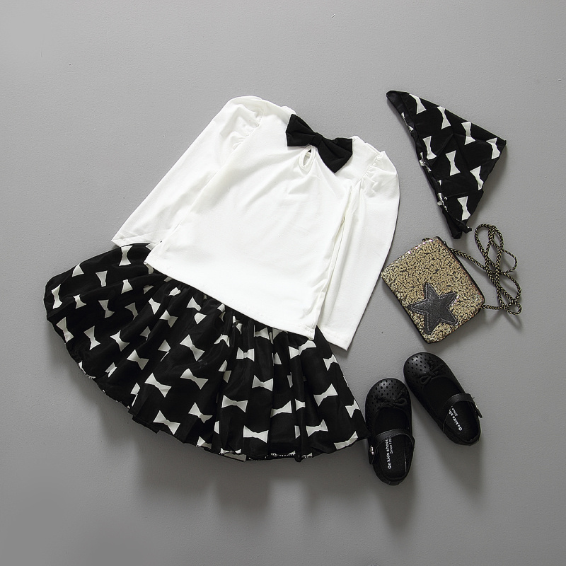 (3pcs/set) T-shirt+ head band + Houndstooth skirt white/ black baby girls clothing set kids clothes