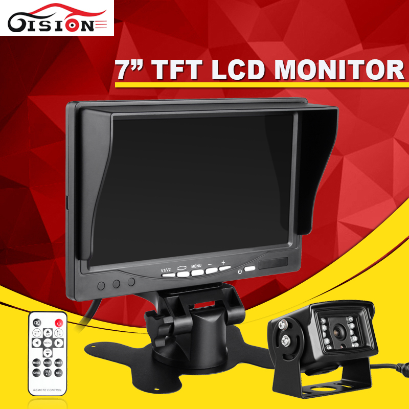 Gision 7 Car/Bus/ Truck Rear View LCD Standalone Monitor System Kit with IR Night Vision Reversing Back up Camera free shipping 4 3 lcd monitor car rear view kit 1ch auto parking system for truck bus school bus dc 12v input rear view camera