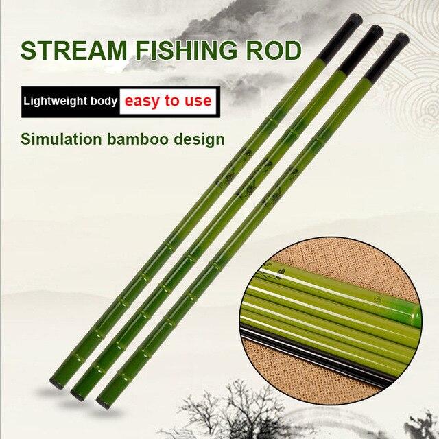 Best Price FRP Fishing Rod Super Hard Powerful Travel Fishing Tackle Imitation Bamboo Pattern Pole Rod ALS88