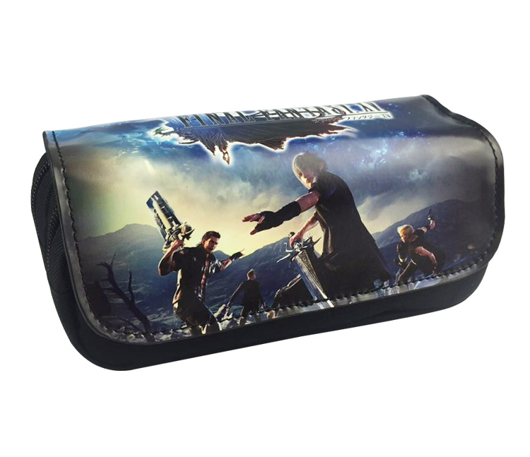 Final Fantasy Boys Girls Cartoon Pencil Case Bag School Pouches Children Student Pen Bag Kids Purse Wallet Gift