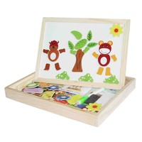 Blackboard Learning Education Toys Kids Wooden Multifunction Children Animal Puzzle Writing Magnetic Drawing Board 00