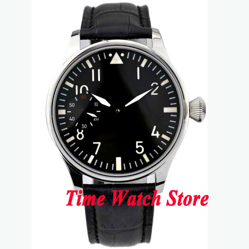 Parnis 44mm black dial luminous black leather strap 6497 hand winding movement Men's watch P1 цены онлайн