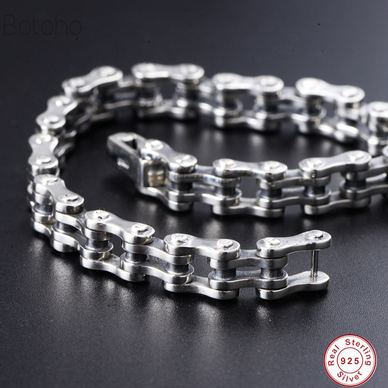 Men 925 sterling silver bracelet Brand new Thai silver bracelet 925 sterling silver vintage chain and link Charm bracelet 2018 2018 thai silver jewelry 925 sterling silver men bracelet male domineering personality retro fashion chain link charm bracelet