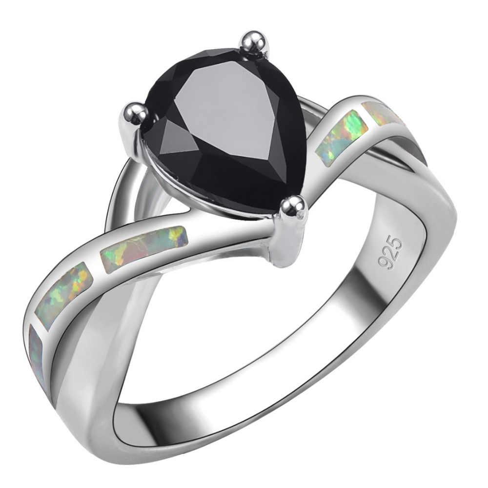 สีดำนิลที่มีสีขาวโอปอลไฟ925แหวนเงินสำหรับผู้หญิงขนาด6 7 8 9 10 R1446