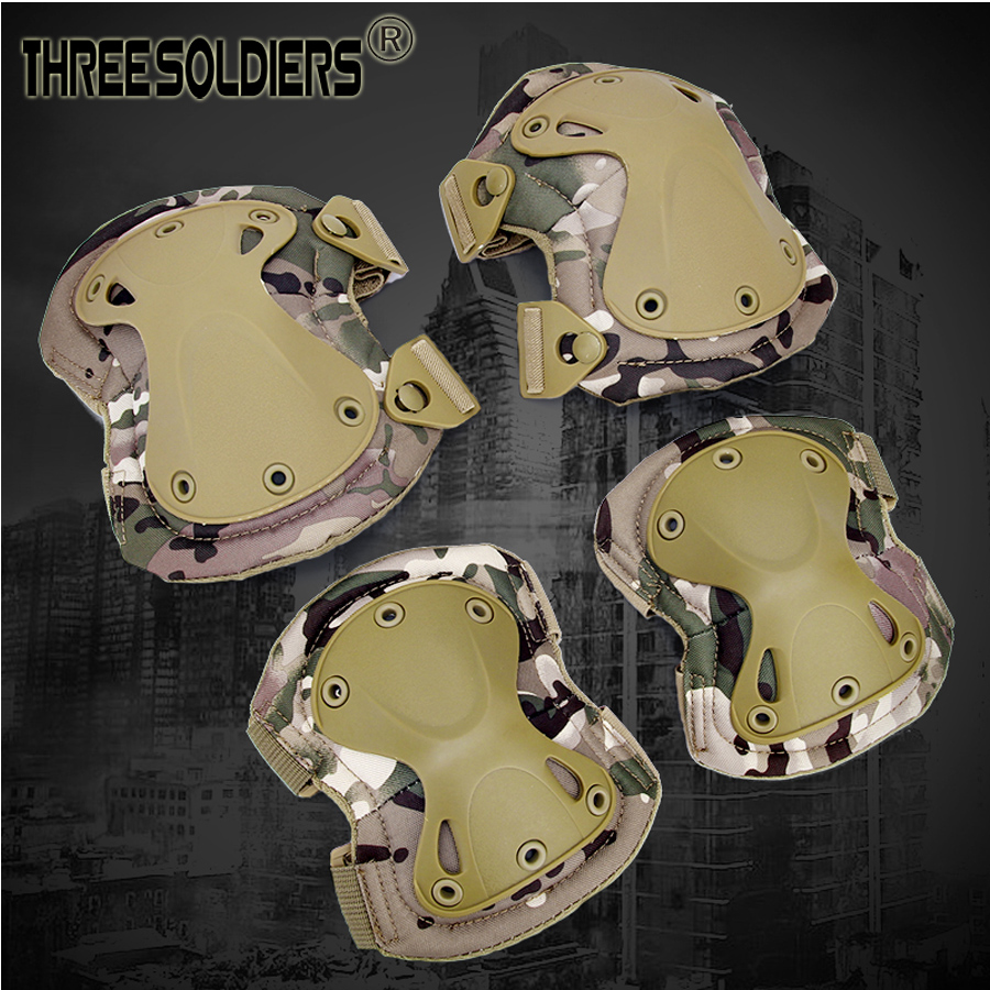 THREE SOLDIERS Adult Tactical Paintball Protection Knee Pads & Elbow Pads Set For Outdoor Sport