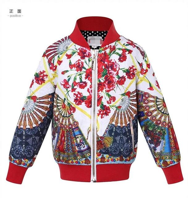 New Girls baby Folding fan printing Coat Autumn Flower stand collar jacket clothing wholesale 2016