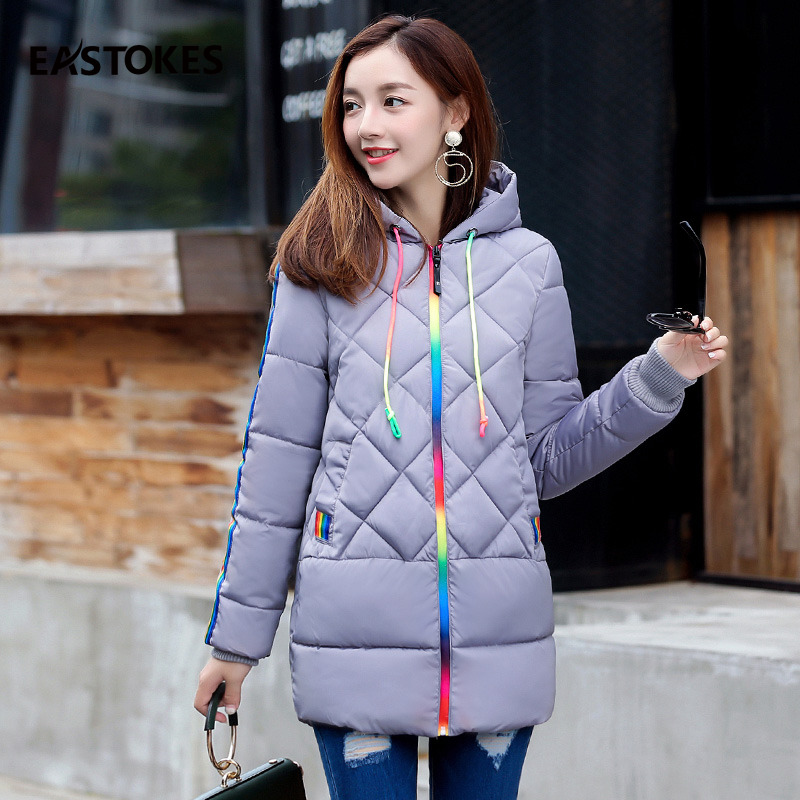 Colourful Zipper Coats Women Jackets Winter Thick Warm Hooded Jackets for Ladies Female Winter Outerwears Slim Cut Outfits Parka