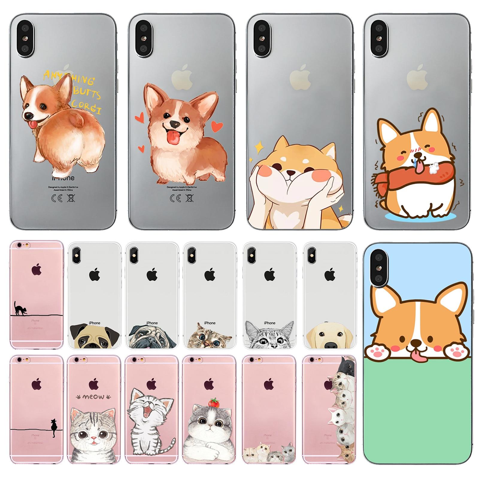 Lovely Corgi Dog Back Shell Cover For iPhoneX 10 6 6s 7 8 Plus Cute Cat Animals Bulldog Soft TPU Case Celular Capa For iPhoneX