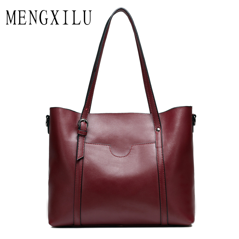 MENGXILU Fashion Women Handbag Split Leather Women Bag Soft Oil Wax Leather Shoulder Bag Large Capacity Casual Tote Large Bags large capacity shoulder bag woman 2018 causal pu leather handbag tote bag soft zipper high quality fashion shoulder bags women
