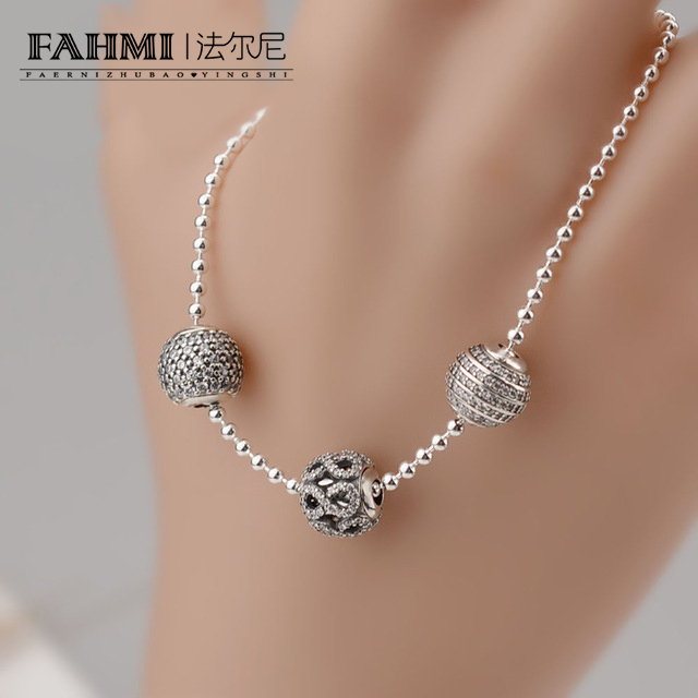 FAHMI 2017 NEW Bracelets & Bangles 925 Sterling Silver Jewelry Bracelets With Silver Ball And Bead Design Silver Link Chain DIY 2018 mens jewelry double layer link chain men bracelets 925 sterling silver bracelets